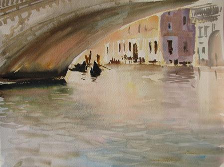 Пейзаж акварель венеция